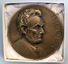 Vintage Abraham Lincoln Bronze Medal Medallion Whitehead & Hoag in Original Box