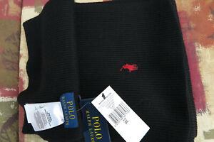 Polo Ralph Lauren Merino Wool Scarf, Polo Black One Size. NEW