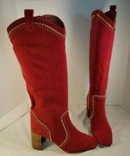 NEW FREE PEOPLE JEFFREY CAMPBELL LOLITA RED SUEDE STUDDED BOOTS WOMEN'S US 9