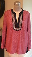 Talbots Split Neck Tunic Top Large Red White Navy Blue LS