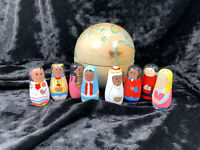 Vintage Russian Wooden Globe with 8 Different Culture Dolls Nested Inside