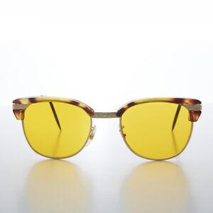 Yellow Tinted Lens Classic Tortoise Browline Vintage Sunglass - True