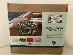 """Inflatable Ottoman  21"""" X 9"""" Red Fabric Weather Resistant By Edie Home NIB"""