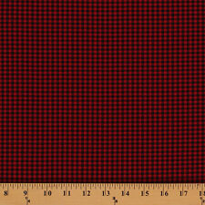 """Carolina Gingham 1/8"""" Check Black Red Woven Cotton Fabric by the Yard D471.18"""