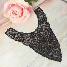 "Victorian Black Beaded Net Dress Trim Piece Inset/ Applique For Repurpose 8.75"""