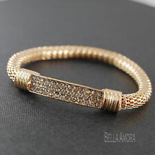 Gold Plated Stretch ID Bar Rhinestone Crystals Bracelet Bangle NEW UK -171
