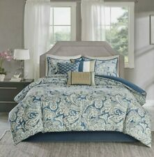 Madison Park Queen Size Bed Comforter Set 7Pc Bed in A Bag - Blue, Paisley