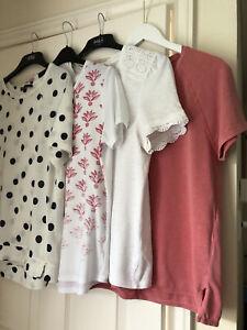 4 X Ladies T Shirts Bundle Short Sleeves - Size 12/14 M&S