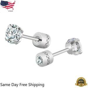 2PCS Silver Stainless Steel Round CZ Earrings Screw Back Ear Stud for Men Women