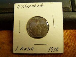 1938 India Hyderabad 1 Anna Coin,XF Condition