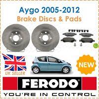 For Toyota Aygo 1.0 VVT-i 2005-2012 FERODO Two Front Brake Discs Brake Pads