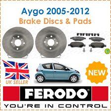 For Toyota Aygo 1.0 VVT-i 2005-2012 FERODO Two Front Brake Discs + Brake Pads