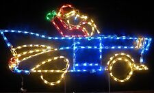 Santa Claus Car 57 Chevy Outdoor Holiday LED Lighted Decoration Steel Wireframe