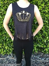 NEW Women's Top Sleeveless Fashion with strips Crown Black T-shirt One size