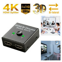 2x1 1x2 In Out UHD 4K Bi Direction HDMI 2.0 Splitter Hub Switch Switcher HDCP 3D