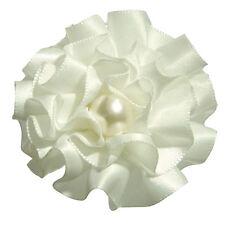 Barrette pince à cheveux coiffure mariage  fleur froufrou satin perle ivoire