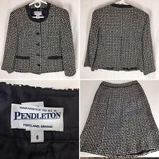 PENDLETON Womens Size 6 Black White Skirt Suit Blazer 2 Piece Set