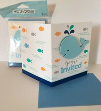 Baby Shower Party Little Blue Whale Invitations with Envelopes 8 pack Nautical