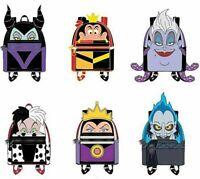 Loungefly Disney Villian Mini Backpack Blind Box Enamel 12 Pin Set Case w/ Chase