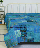 Indian Handmade Patchwork Kantha Quilt King Size Blue Silk Blanket Bedspread