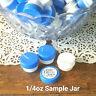 50 Cute White Plastic 1/4oz Sample JARS 1TSP Container Blue Lids Caps 3301 NEW