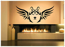 Wall Vinyl Sticker Decals Mural Room Design Mural Art Wolf Head With Wing bo232