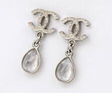 CHANEL CC Logos Teardrop Crystal Dangle Earrings Rhinestone w/BOX a91