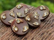 Vintage Chocolate Brown Glass BUTTONS Jewel Rhinestone Paste Trim Crafts Sewing