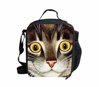 Animal Cat School Thermal Food Storage Container Insulated Lunch Bag Kids Girls
