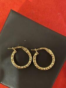 Ladies 9ct Yellow Gold Floral Engraved Hoop Earrings Size 15mm