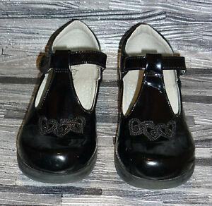 Boulevard GIRLS Black school shoes Size 13 patent leather hook & loop strap