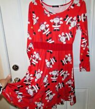 Christmas Red Long Sleeve SANTA CLAUS Swing Dress Evening Party Dress SMALL New
