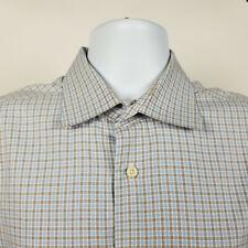 David Donahue Mens Blue Brown White Check Plaid Dress Button Shirt 16.5 34/35