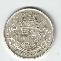 CANADA 1945 50 CENTS HALF DOLLAR KING GEORGE VI CANADIAN .800 SILVER COIN