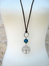 Silver Tree of Life Pendand Brown Leather Long Bohemian Necklace Handmade Boho