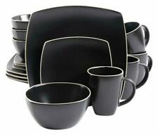Gibson Elite Soho Lounge Matte Glaze 16 Piece Dinnerware Set In Black; Includes