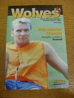 07/08/1995 Wolverhampton Wanderers v Arsenal [Friendly] . Footy Progs (aka bobfr