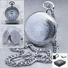 Gift with Fob Chain + Gift Box P72 Silver Pocket Watch Slim Brass Case 47 Mm Men
