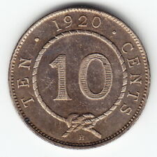 SARAWAK 10 cents 1920-H KM15 Ag.400 1yr type HIGH GRADE minted 150,000 VERY RARE