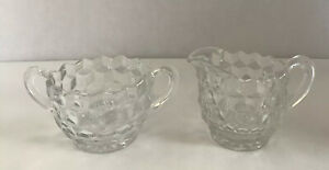 Vintage, Indiana Whitehall Clear Glass Sugar Bowl And Creamer Set - Cube Design