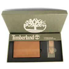 New TIMBERLAND Men's Tan Brown Bifold Leather Wallet & Keyring Gift Set Boxed