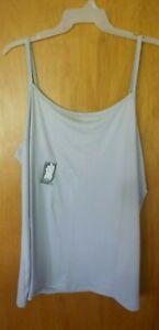 New Womens 3X 24W/26W Light Gray Long Tunic Length Cami Tank Top Super Soft