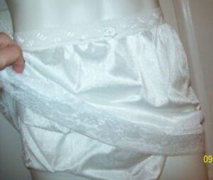 """WHITE Tricot SLIP & PANTY COMBO - Men & Women * 28-44 Waist * Slip Length 22"""""""