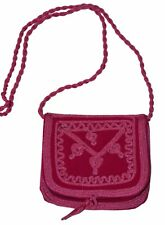 Moroccan Handbag Purse Pouch Shoulder Bag Embroidery Handmade Suede SM Fuchsia