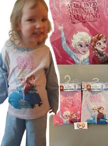 NEW girls kids disney frozen long sleeve trousers pjs pyjamas set 2 - 8 years
