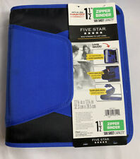 Five Star 1-1/2 Inch Zipper Binder, 3 Ring Binder, 3-Pocket Expanding File, Blue
