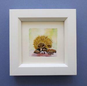 "Framed Original Miniature  Watercolour ""Busy Echidna Looking for Grubs""."