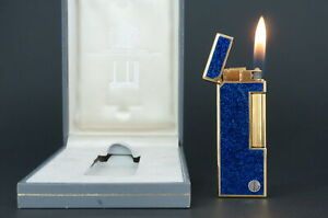 Dunhill Rollagas Lighter  Gold plated Lacquer Lapis Lazuli  Working #R30