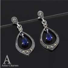 Marcasite Sapphire Earrings Sterling Silver Dangle Wedding Birthday Gifts Her