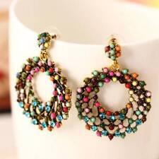 Ethnic Boho Earrings Vintage Style Color Beads Hollow Round Hoop Earrings